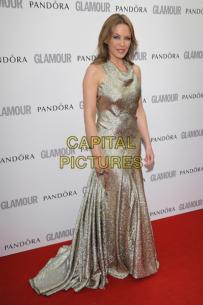 Kylie Minogue.The Glamour Women Of The Year Awards 2012, Berkeley Square Gardens, Berkeley Square, London, England..May 29th, 2012.full length gold silver sleeveless dress sparkly.CAP/PL.©Phil Loftus/Capital Pictures.