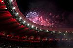 Fireworks at Wanda Metropolitano during La Liga match between Atletico de Madrid and Malaga CF at Wanda Metropolitano in Madrid, Spain September 16, 2017. (ALTERPHOTOS/Borja B.Hojas)