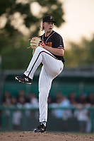 Modesto Nuts starting pitcher Darren McCaughan (16) prepares to deliver a pitch during a California League game against the Lake Elsinore Storm at John Thurman Field on May 11, 2018 in Modesto, California. Modesto defeated Lake Elsinore 3-1. (Zachary Lucy/Four Seam Images)