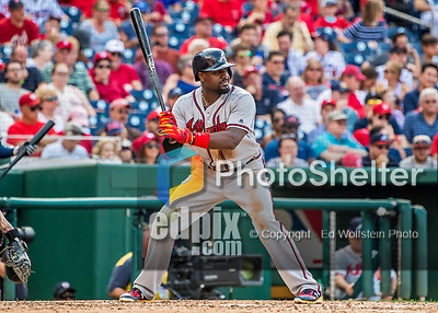8 July 2017: Atlanta Braves infielder Brandon Phillips in action against the Washington Nationals at Nationals Park in Washington, DC. The Braves shut out the Nationals 13-0 to take the third game of their 4-game series. Mandatory Credit: Ed Wolfstein Photo *** RAW (NEF) Image File Available ***