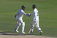 Murali Vijay (L) congratulates Tom Westley of Essex on reaching his fifty during Nottinghamshire CCC vs Essex CCC, Specsavers County Championship Division 1 Cricket at Trent Bridge on 13th September 2018