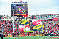 College Park, MD - SEPT 22, 2018: Maryland Terrapins fans display the Maryland flag in the crowd during game between Maryland and Minnesota at Capital One Field at Maryland Stadium in College Park, MD. The Terrapins defeated the Golden Bears 42-13 to move to 3-1 on the season. (Photo by Phil Peters/Media Images International)