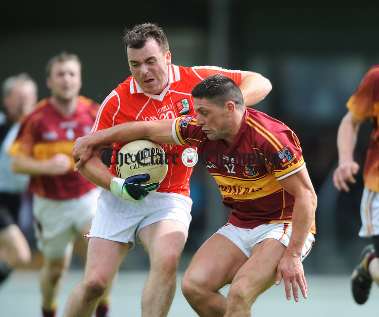 Brian O Shea of Shannon Gaels in action against Graham Kelly of Miltown during their group 4 game at Kilmihil. Photograph by John Kelly.