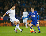 Jamie Vardy of Leicester City Cesar Azpilicueta of Chelsea - English Premier League - Leicester City vs Chelsea - King Power Stadium - Leicester - England - 14th December 2015 - Picture Simon Bellis/Sportimage