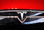 Tesla Motors emblem, Tesla model S car logo closeup
