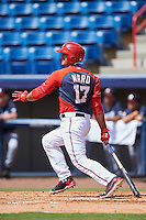 Washington Nationals third baseman Drew Ward (17) during an Instructional League game against the Atlanta Braves on September 30, 2016 at Space Coast Stadium in Melbourne, Florida.  (Mike Janes/Four Seam Images)