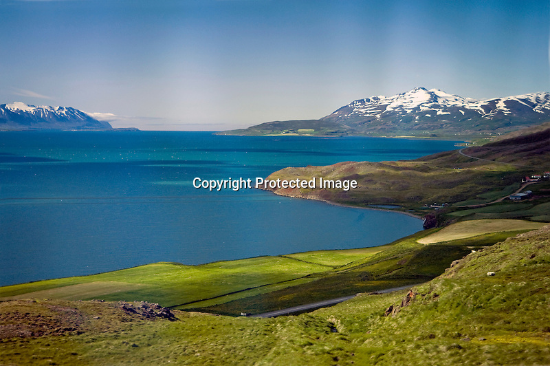 View of Mountains and Eyjafjordur Fjord near Akureyri in North Iceland