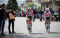 Ozzies Adam Hansen (AUS/Lotto-Soudal) & Caleb Ewan (AUS/Lotto-Soudal) on their way to the race start in Vinci (where the famous Leonardo is actually from... )<br /> <br /> Stage 3: Vinci to Orbetello (219km)<br /> 102nd Giro d'Italia 2019<br /> <br /> ©kramon