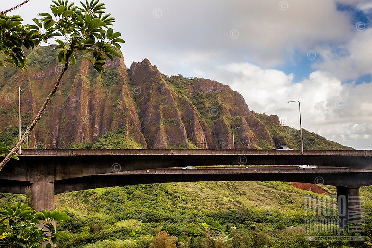 "A morning view of the Ko'olau mountain range and H-3 Freeway from the Haiku Stairs (""Stairway to Heaven"") hiking trail in Kaneohe, O'ahu"