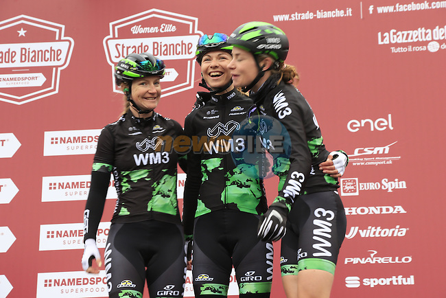 WM3 Pro Cycling Team at sign on before the start of the Ladies 2017 Strade Bianche running 127km from Siena to Siena, Tuscany, Italy 4th March 2017.<br /> Picture: Eoin Clarke | Newsfile<br /> <br /> <br /> All photos usage must carry mandatory copyright credit (&copy; Newsfile | Eoin Clarke)