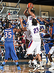 Stephen F. Austin Lumberjacks guard Eddie Williams (12) in action during the game between the Stephen F. Austin Lumberjacks and the UTA Mavericks held at the University of Texas at Arlington's, Texas Hall, in Arlington, Texas.  UTA defeats Stephen F. Austin  66 to 65 in overtime.