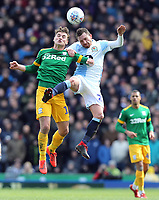Preston North End's Ryan Ledson vies for possession with Blackburn Rovers' Corry Evans<br /> <br /> Photographer Rich Linley/CameraSport<br /> <br /> The EFL Sky Bet Championship - Blackburn Rovers v Preston North End - Saturday 9th March 2019 - Ewood Park - Blackburn<br /> <br /> World Copyright © 2019 CameraSport. All rights reserved. 43 Linden Ave. Countesthorpe. Leicester. England. LE8 5PG - Tel: +44 (0) 116 277 4147 - admin@camerasport.com - www.camerasport.com