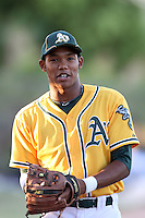 Addison Russell #3 of the AZL Athletics during a game against the AZL Dodgers at Papago Park Baseball Complex on July 25, 2012 in Phoenix, Arizona. Dodgers defeated A's 3-1. (Larry Goren/Four Seam Images)