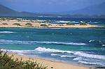 Sand dunes and Atlantic waves, Corralejo, Fuerteventura,Canary Islands.