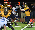 Althoff quarterback Will Ache runs the ball against Mater Dei. Mater Dei played football at Althoff on Friday September 13, 2019. <br /> Tim Vizer/Special to STLhighschoolsports.com