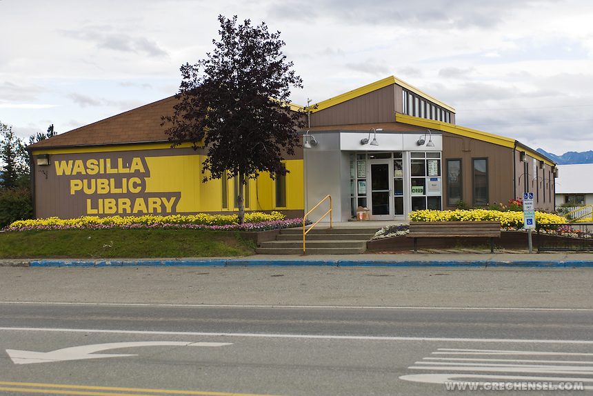 The Public Library in Wasilla, Alaska. Hometown of Sarah Palin, the 2008 Republican nominee for Vice President of the United States.