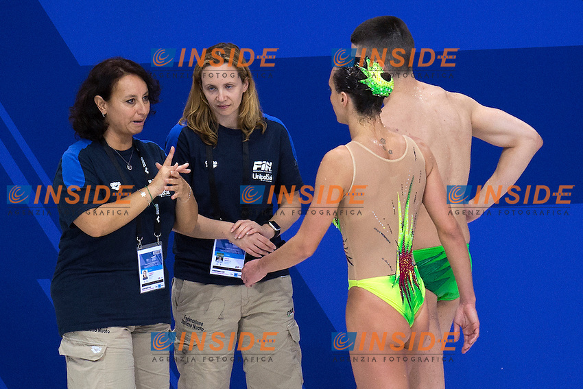 Giorgio MINISINI Mariangela PERRUPATO ITA ITALY<br /> Silver Medal <br /> con le allenatrici <br /> Mixed Duet Free Final <br /> London, Queen Elizabeth II Olympic Park Pool <br /> LEN 2016 European Aquatics Elite Championships <br /> Synchronized Swimming <br /> Day 03 11-05-2016<br /> Photo Andrea Staccioli/Deepbluemedia/Insidefoto