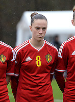 20150404 - FORST , GERMANY  : Belgian Chloe Vande Velde  pictured during the soccer match between Women Under 19 teams of Belgium and Ukraine , on the first matchday in group 5 of the UEFA Elite Round Women Under 19 at WaldseeStadion , Forst , Germany . Saturday 4th April 2015 . PHOTO DAVID CATRY