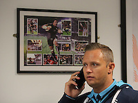Pictured: Lee Trundle contemplating a career in rugby Tuesday 29 November 2016<br />Re: Soup kitchen for homeless people organised by Swansea City FC and Woolwich at the Liberty Stadium, Wales, UK
