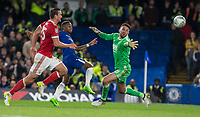 Charly Musonda of Chelsea goes close to scoring a second goal as he beats Goalkeeper Stephen Henderson of Notthingham Forest but not the goal during the Carabao Cup (Football League cup) 23rd round match between Chelsea and Nottingham Forest at Stamford Bridge, London, England on 20 September 2017. Photo by Andy Rowland.