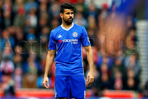 March 18th 2017, Stoke On Trent, Staffordshire, England; EPL Premiership football; Stoke City versus Chelsea; Diego Costa of Chelsea looks upfield