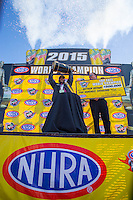 Nov 1, 2015; Las Vegas, NV, USA; NHRA top fuel driver Antron Brown celebrates after clinching the 2015 top fuel dragster world championship during eliminations for the Toyota Nationals at The Strip at Las Vegas Motor Speedway. Mandatory Credit: Mark J. Rebilas-USA TODAY Sports