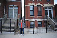 Carol Mrowka, in her neighborhood, the East Village section of West Town, whose landmark distinctions she finds contentious at worst and absurd at best on the Near Northwest Side of Chicago, Illinois on March 23, 2009.