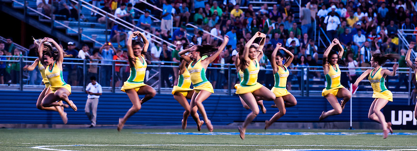 HEMPSTEAD, NY – AUGUST 3: The Cosmos Girls perform at halftime of the New York Cosmos' home opener against the Fort Lauderdale Strikers on August 3, 2013 at Hofstra University's Shuart Stadium in Hempstead, New York.