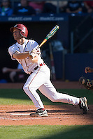 Mike McGee #25 of the Florida State Seminoles connects for a home run versus the Boston College Eagles at Durham Bulls Athletic Park May 20, 2009 in Durham, North Carolina. (Photo by Brian Westerholt / Four Seam Images)