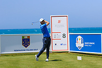 Lucas Bjerregaard (DEN) on the 8th tee during Round 1 of the Rocco Forte Sicilian Open 2018 on Thursday 5th May 2018.<br /> Picture:  Thos Caffrey / www.golffile.ie<br /> <br /> All photo usage must carry mandatory copyright credit (&copy; Golffile | Thos Caffrey)