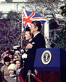 """Washington, DC - (FILE) -- United States President Ronald Reagan welcomes Prime Minister Margaret Thatcher of Great Britain for her first official visit of his presidency on the South Lawn of the White House in Washington, D.C. on Thursday, February 26, 1981..Credit: Benjamin E. """"Gene"""" Forte - CNP"""