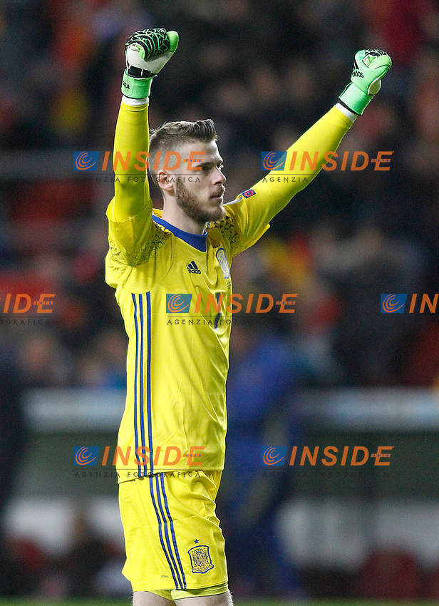 Spain's David De Gea celebrates goal during FIFA World Cup 2018 Qualifying Round match. <br /> Gijon 24-03-2017 Stadio El Molinon <br /> Qualificazioni Mondiali <br /> Spagna - Israele <br /> Foto Acero/Alterphotos/Insidefoto <br /> ITALY ONLY