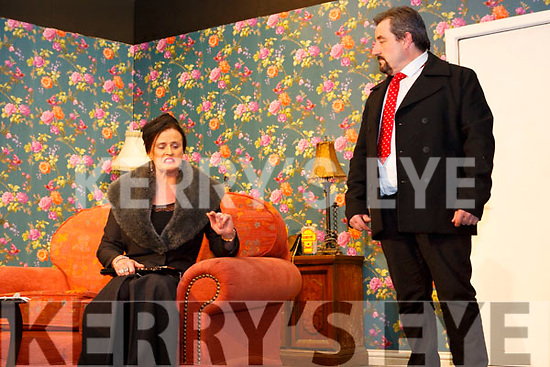 """Una Rahilly and Tom O'Sullivan from the Ballymac drama group rehearshing ahead of their show """"Where there's a Will"""" in the Ivy Leaf in Castleisland on Monday night last."""