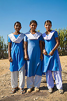 Three school girls taking a break outside in rural India.<br /> (Photo by Matt Considine - Images of Asia Collection)