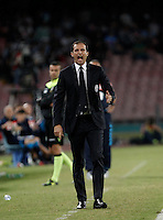 Calcio, Serie A: Napoli vs Juventus. Napoli, stadio San Paolo, 26 settembre 2015. <br /> Juventus&rsquo; coach Massimiliano Allegri gives indications to his players during the Italian Serie A football match between Napoli and Juventus at Naple's San Paolo stadium, 26 September 2015.<br /> UPDATE IMAGES PRESS/Isabella Bonotto