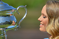 January 28, 2018: The 2018 Australian Open Women's Champion Caroline Wozniacki of Denmark kisses her trophy at the Botanical Gardens in Melbourne, Australia. Photo Sydney Low