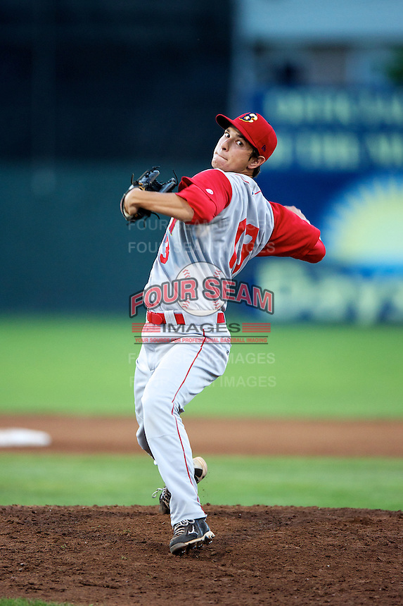 Brooklyn Cyclones pitcher Matthew Bowman #13 during a game against the Batavia Muckdogs at Dwyer Stadium on July 27, 2012 in Batavia, New York.  Batavia defeated Brooklyn 2-0.  (Mike Janes/Four Seam Images)