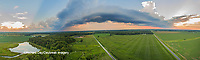 63893-03418 Sunset in rural Illinois - panoramic aerial - Marion Co. IL