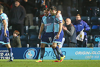 Sam Wood of Wycombe Wanderers (2nd right) and Matthew Bloomfield of Wycombe Wanderers (right) celebrate victory during the Sky Bet League 2 match between Wycombe Wanderers and Leyton Orient at Adams Park, High Wycombe, England on 17 December 2016. Photo by David Horn / PRiME Media Images.