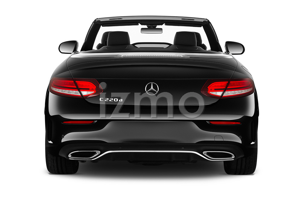 Straight rear view of 2019 Mercedes Benz C-Class AMG-Line 2 Door Convertible Rear View  stock images