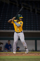 AZL Athletics first baseman Alonzo Medina (12) at bat during an Arizona League game against the AZL Cubs 1 at Sloan Park on June 28, 2018 in Mesa, Arizona. The AZL Athletics defeated the AZL Cubs 1 5-4. (Zachary Lucy/Four Seam Images)