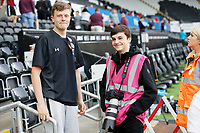 Aedan Cousins and Nikolas Legakis during the Sky Bet Championship match between Swansea City and Rotherham United at the Liberty Stadium, Swansea, Wales, UK. Friday 19 April 2019