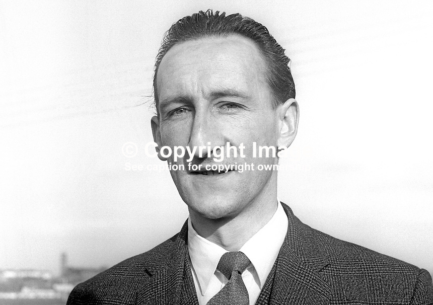 Stanley Wynne, schoolteacher, alderman, Enniskillen Borough Council, who stood as a Liberal Party candidate in a by-election for the Lisnaskea seat in the N Ireland Parliament, February 1968. 196802000092<br />