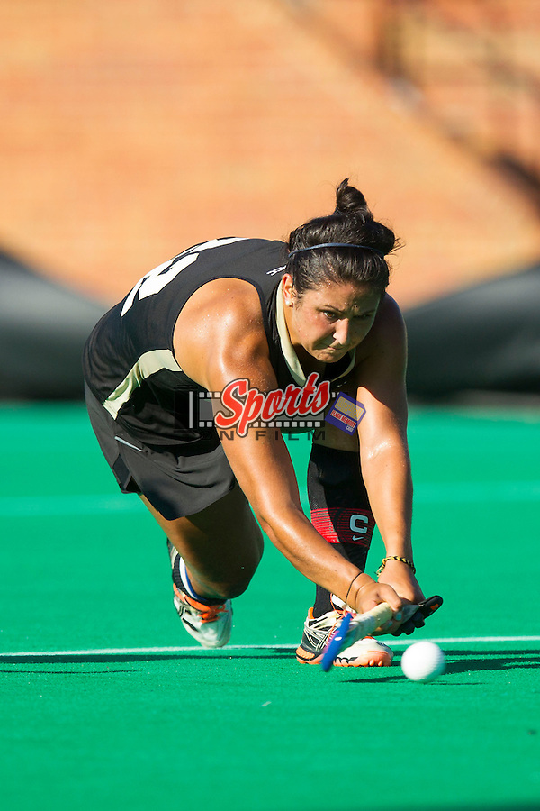 Anna Kozniuk (22) of the Wake Forest Demon Deacons takes a shot on goal during first half action against the Liberty Flames at Kentner Stadium on September 13, 2013 in Winston-Salem, North Carolina.  The Demon Deacons defeated the Flames 3-2.  (Brian Westerholt/Sports On Film)