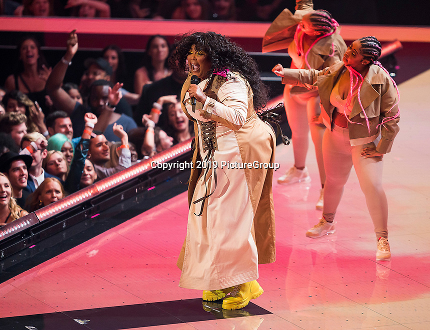 NEWARK, NJ - AUGUST 26: Lizzo performs on the 2019 MTV Video Music Awards at the Prudential Center on August 26, 2019 in Newark, New Jersey. (Photo by Ben Hider/PictureGroup)