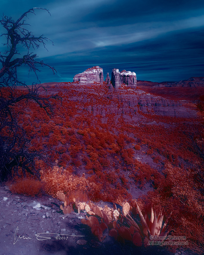 Moonlight Fire (Infrared) - Cathedral Rock from The Hiline Trail, Arizona ©2017 James D Peterson.  You might see a view like this in the moonlight outside of Sedona -- if you happen to have infrared eyes.