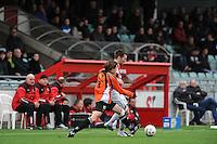 VOETBAL: EMMELOORD: Sportpark Ervenbos, 18-02-2012, Flevo Boys 1 - Drachtster Boys 1, Age Hains Boersma (FB), Jacob Bras (DB), Eindstand 6-2, ©foto: Martin de Jong