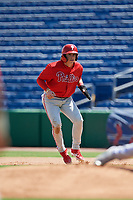 Philadelphia Phillies Bryson Stott (10) leads off first base during an Instructional League game against the Toronto Blue Jays on September 17, 2019 at Spectrum Field in Clearwater, Florida.  (Mike Janes/Four Seam Images)