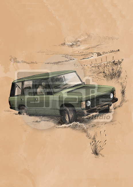 Illustrative image of SUV riding on desert
