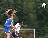 Boston Breakers defender Julie King (8) and Sky Blue FC forward Danesha Adams (9) battle for head ball.  In a National Women's Soccer League Elite (NWSL) match, Sky Blue FC (white) defeated the Boston Breakers (blue), 3-2, at Dilboy Stadium on June 16, 2013.
